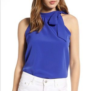 Halogen bow tie neck blouse